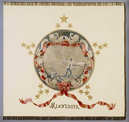 Photograph of Minnesota's first state flag