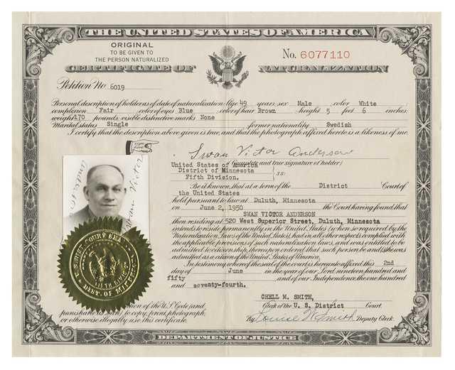 United States certificate of naturalization
