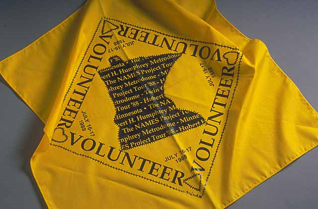 Color image of a NAMES Project Bandana given to Brian Coyle for reading names from the AIDS quilt when it was shown at the Metrodome, July 16–17, 1988.