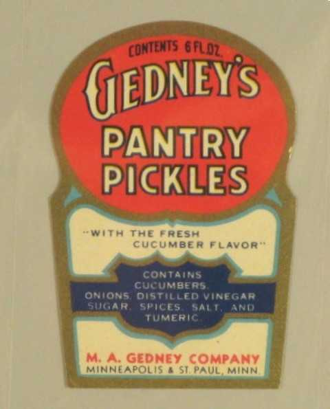 Color image of a Gedney's Pantry Pickles label, c.1935.