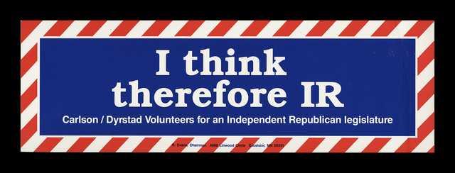 Gubernatorial campaign bumper sticker