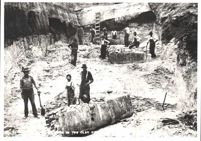 photograph of clay miners in a clay pit