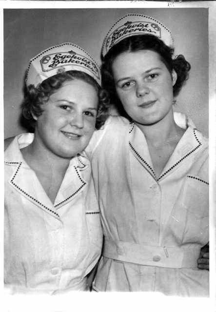 Photograph of two Egekvist Bakery store clerks, 1936.