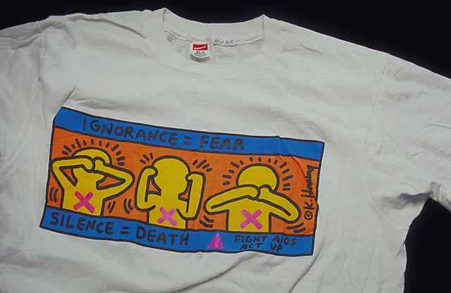ACT UP t-shirt designed by Keith Haring, mid-1980s.
