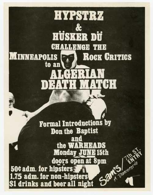 Handbill for Hüsker Dü and Hysptrz concert