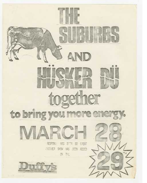 Handbill for Hüsker Dü and The Suburbs concert