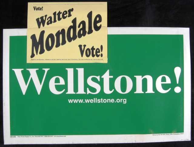 Yard sign created to support Paul Wellstone's U.S. Senate campaign in 2002.