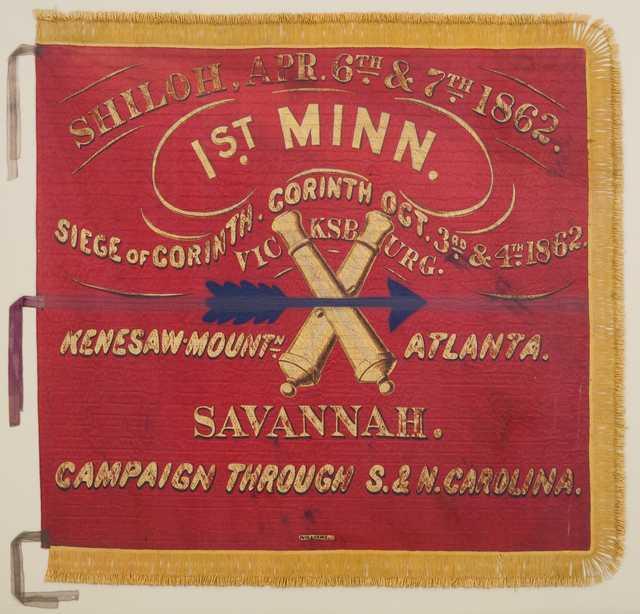 Color image of 1st Battery Minnesota Light Artillery battle flag.