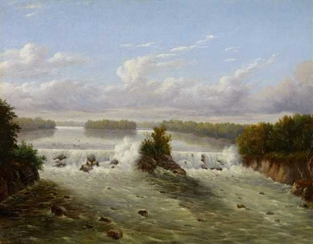 Color image of Owamniyomni (St. Anthony Falls), 1848. Oil painting by Seth Eastman.