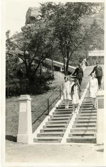 photograph of people on the newly constructed stairway
