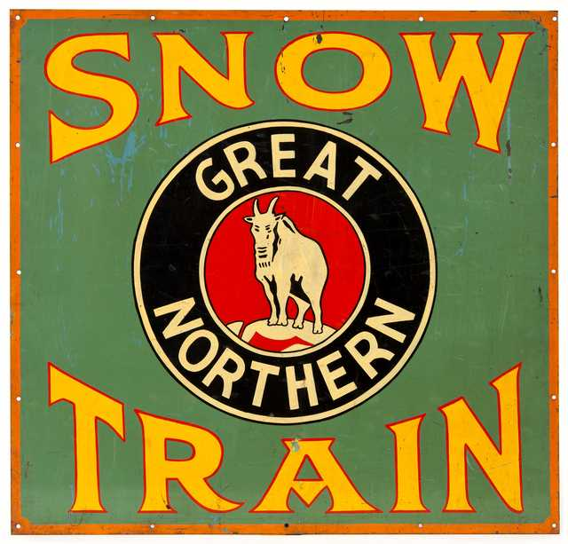 """Color image of a Great Northern Railway """"Snow Train"""" sign, ca. 1942"""