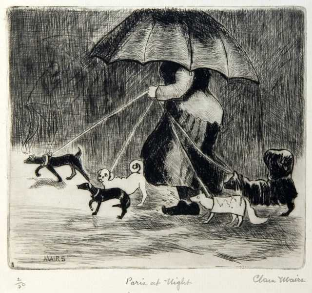 Paris at Night, undated. Etching on paper by Clara Mairs.