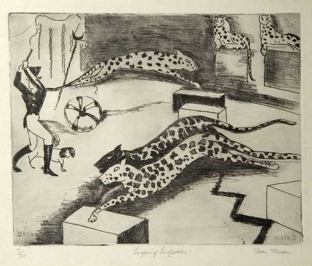 Leaping Leopards, c.1930. Etching on paper by Clara Mairs.