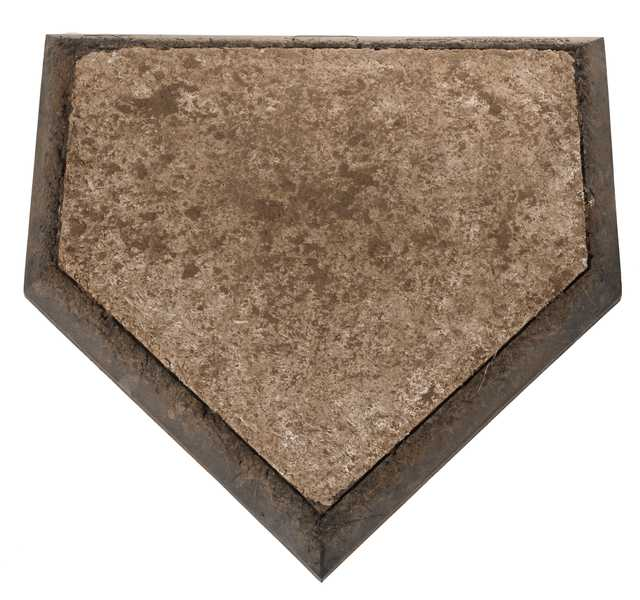 Color image of the last home plate used for baseball games at the Hubert H. Humphrey Metrodome in Minneapolis, Minnesota, 2013.