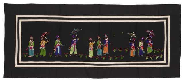 Color image of a Hmong paj ndaub, or story cloth, illustrating Hmong New Year courtship rituals. Made in Ban Vinai, Thailand, c.1988.