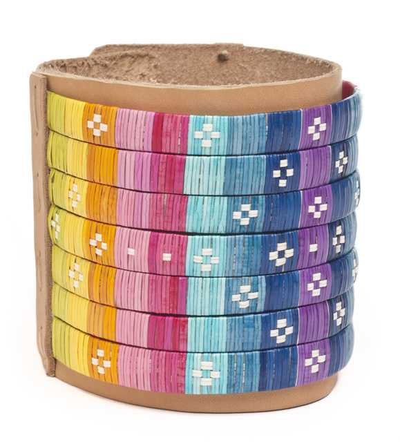 Color image of a cuff created between 2012 and 2013 by Dakota/Navajo artist Dallas Goldtooth.