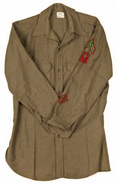 Color image of a Civilian Conservation Corps shirt worn by Fred Fretheim of CCC Company 3707, Two Harbors, Minnesota, ca. 1936–1937.