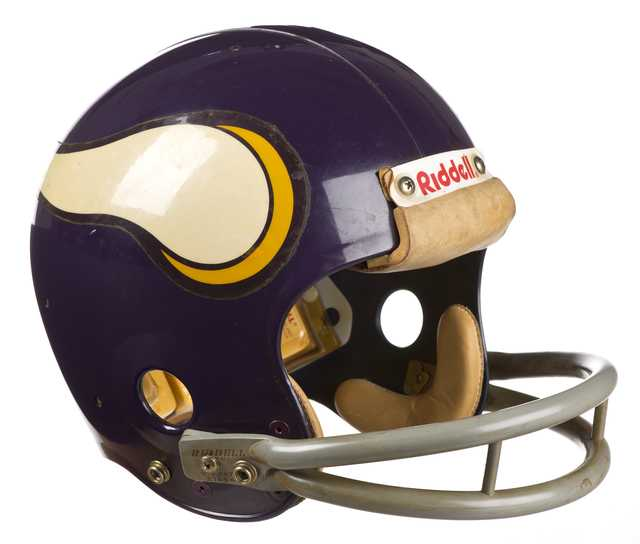 Color image of the helmet worn by Minnesota Vikings safety Paul Krause in the late 1970s.