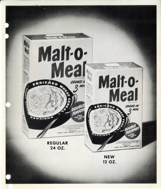 Malt-O-Meal cereal boxes, 1950. Used with the permission of Post Consumer Brands and Northfield Historical Society.