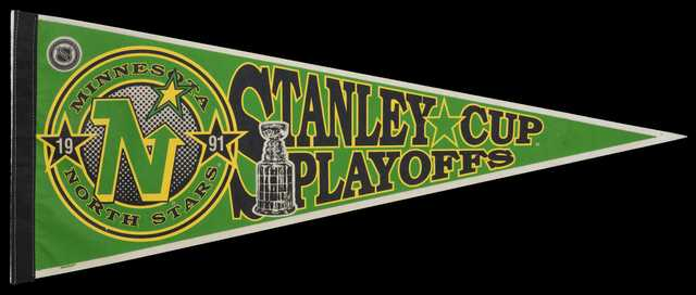 Minnesota North Stars Stanley Cup pennant, 1991. As the North Stars made their second trip to the Stanley Cup finals, fan memorabilia was made to celebrate the achievement.