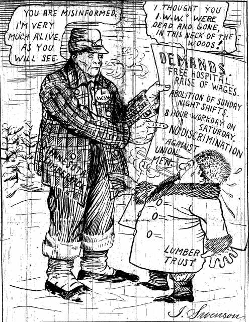 Black and white scan of a cartoon from the Seattle Industrial Worker, February 3, 1917.