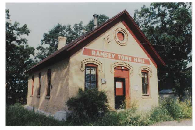 Photograph of the Ramsey District #28 School House after it was repurposed as the Ramsey Town Hall. Photographer unknown, ca. 1970s.