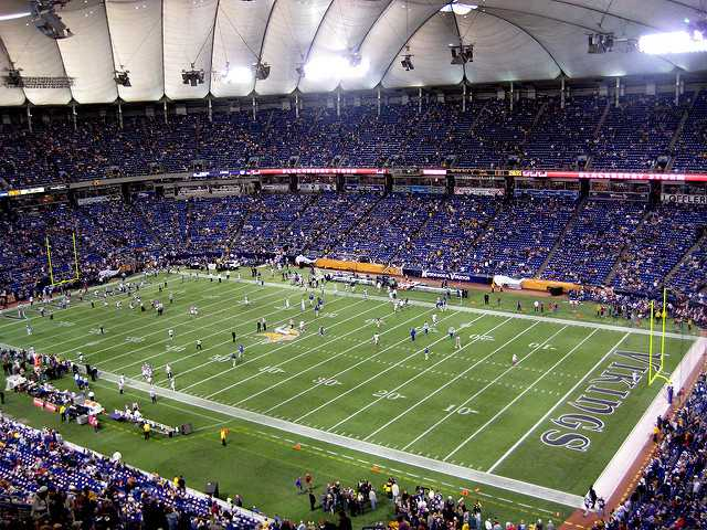 Color image of the interior of the Hubert H. Humphrey Metrodome, 2008. Photograph by Dean Shareski.