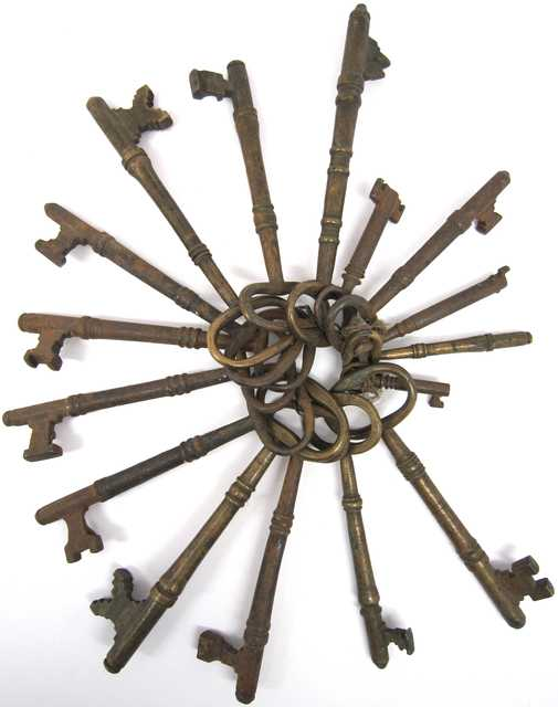 Color image of keys from the first state capitol, found in the ruins of the burned-out building, 1881.