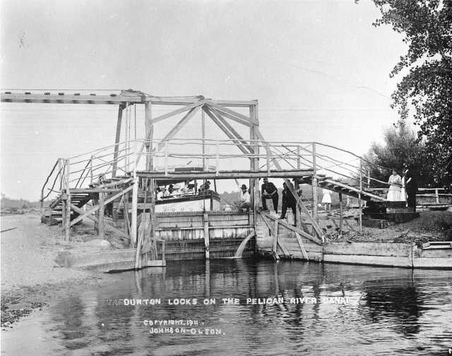 steamboat in a Lock between the Pelican River and Lake Sallie