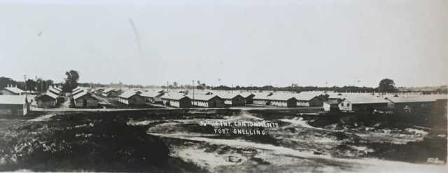 Black and white photograph of of cantonments at Fort Snelling, 1917.