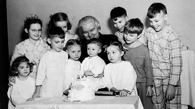 Sister Kenny Institute polio patients help Sister Kenny celebrate Institute's first birthday.