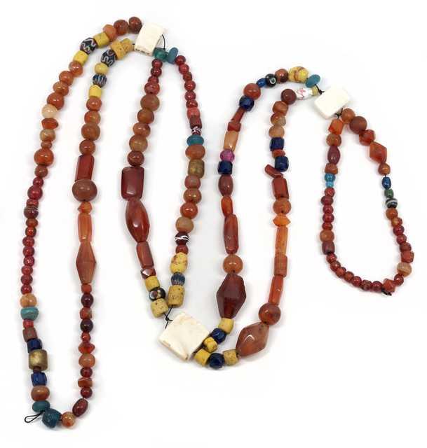 Dakota glass, clay, and agate beads