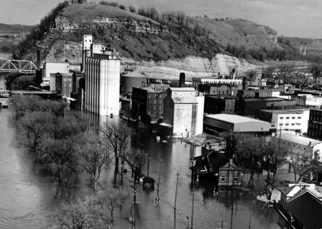Black and white photograph of The record Mississippi River flood at Red Wing, 1965.