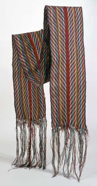 """Color image of a French-Canadian finger-woven wool sash in ceinture flechee or """"arrow sash"""" pattern, ca. 1750–1800."""