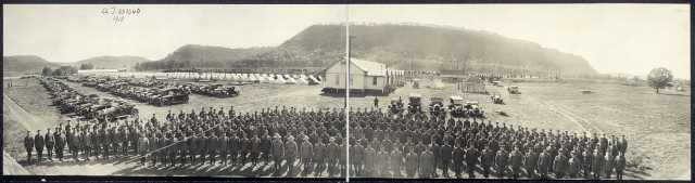 Black and white photograph of Minnesota Motor Corps encampment, Camp Lakeview, Lake City, c.1918.