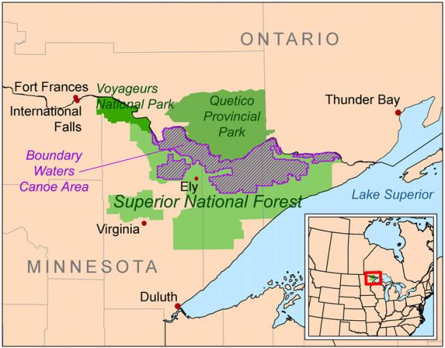 Map showing the location of the Boundary Waters Canoe Area Wilderness