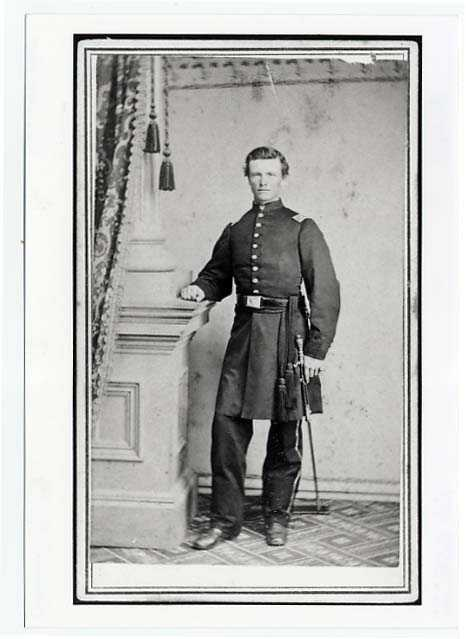 Black and white full-length portrait photograph of Albert Alonzo Ames, c.1863.
