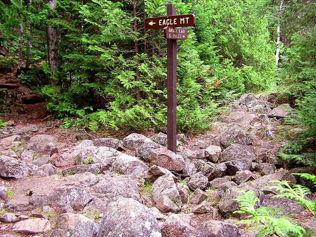 Color image of the junction of the rugged Eagle Mountain and Brule Lake trails in the Boundary Waters Canoe Area of Minnesota, 2006.
