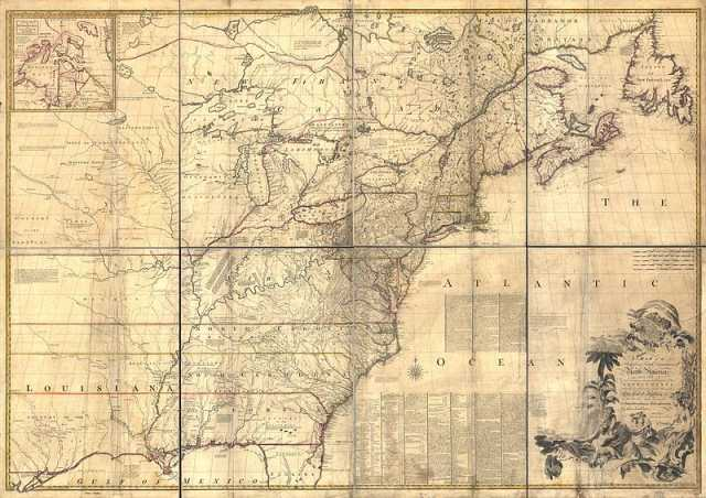 Map of North America drawn by John Mitchell in 1755.