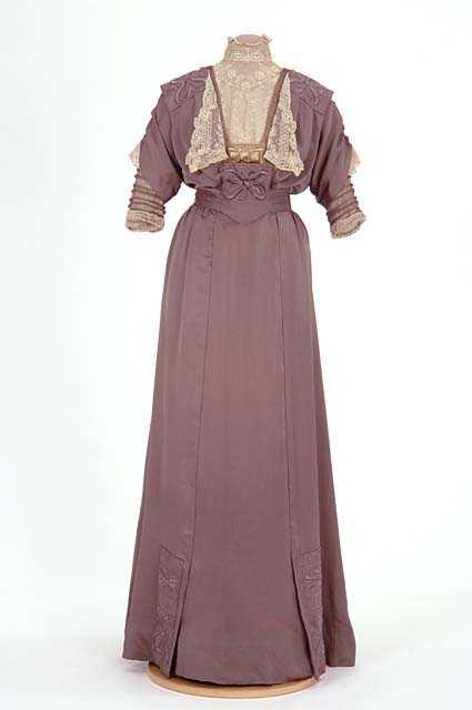 Lavender satin dress made by dressmaker Caroline Mundahl, St. Paul, 1910–1913.