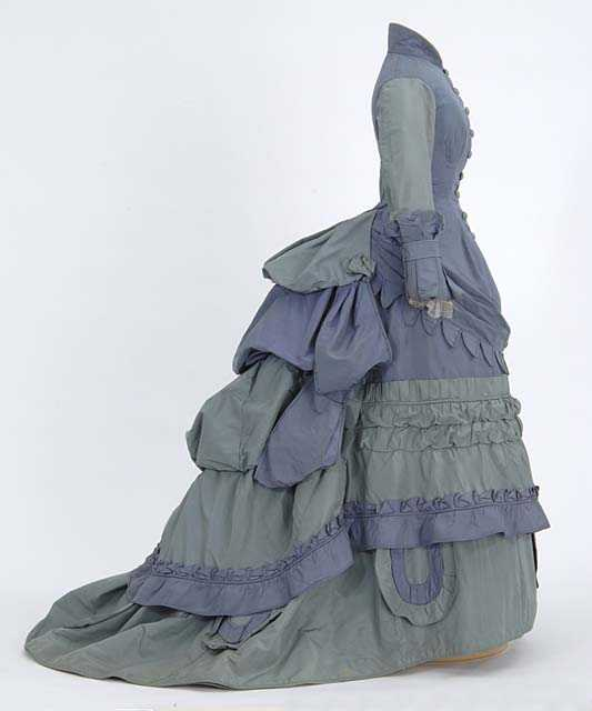 Gown with bustle and train