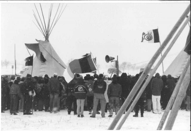 AIM members observing the twenty-fifth anniversary of the Wounded Knee occupation