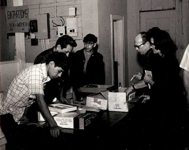 Black and white photograph of AIM Patrol receiving donations, 1968.