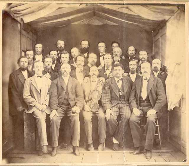 Black and white photograph of members of Pioneer Maennerchor, 1870s or 1880s.