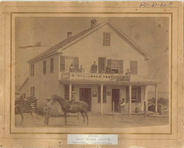 Black and whitep photograph of the Lake House Hotel, c.1880.
