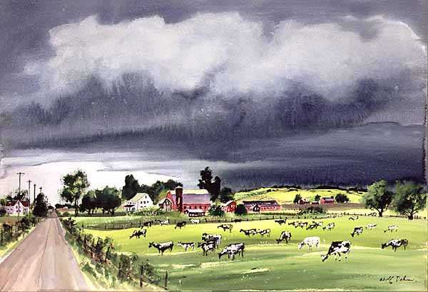 Rainstorm in Minnesota, watercolor on paper by Adolf Dehn, 1950.