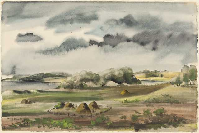 Hay Meadows, watercolor on paper by Adolf Dehn, 1935.