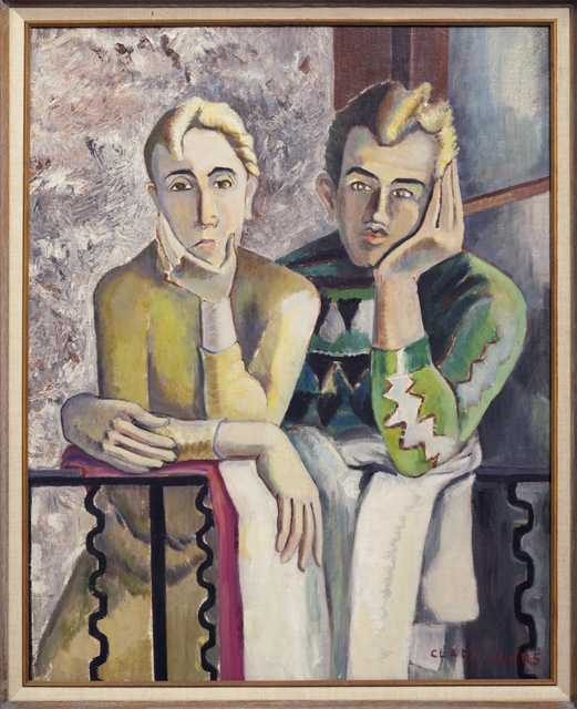 Clara and Clem, c.1930. Oil on canvas painting by Clara Mairs.