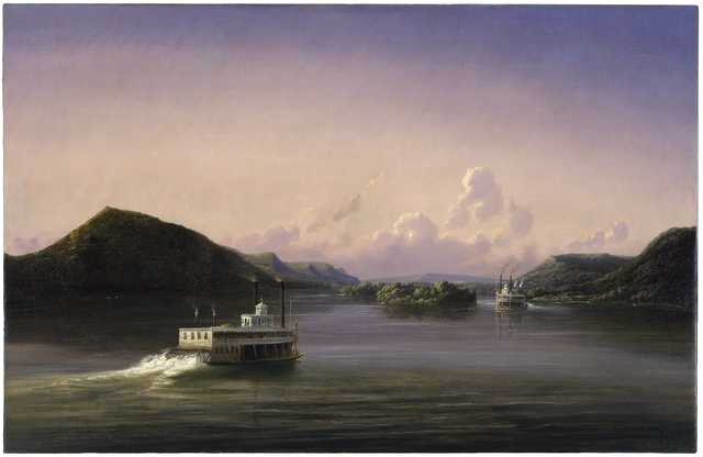 Oil-on-canvas painting of steamboats traveling the Mississippi River. Painted by Ferdinand Richardt in 1857.