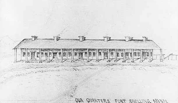 Sketch of soldiers' barracks at Fort Snelling, c.1862, by Albert Colgrave.